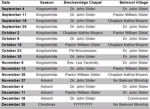 Preaching Schedule 2016 (Sep-Dec)