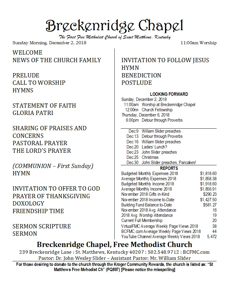 181202 Breckenridge Chapel Bulletin