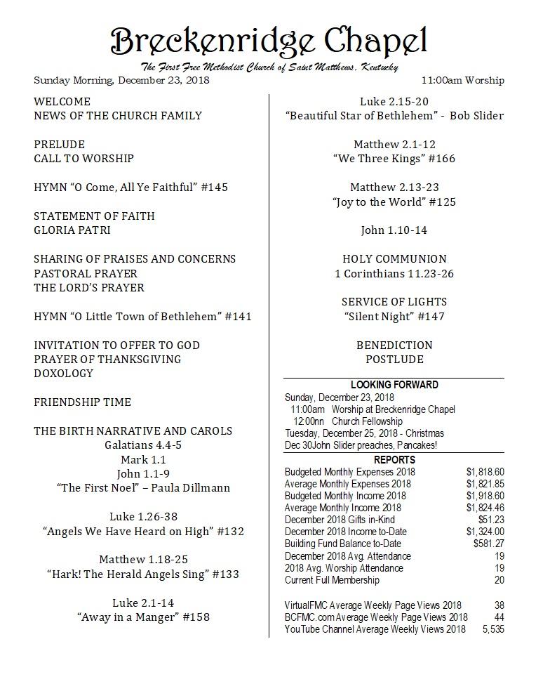 Breckenridge Chapel Bulletin 181223